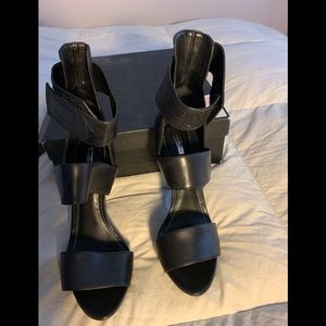 Women's Black Leather multi strap sandals .